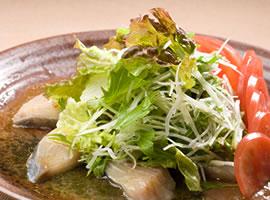 鮮魚と大根 水菜のサラダ